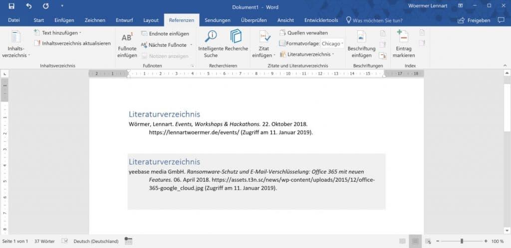 Microsoft Word Mehrere Literaturverzeichnisse 4