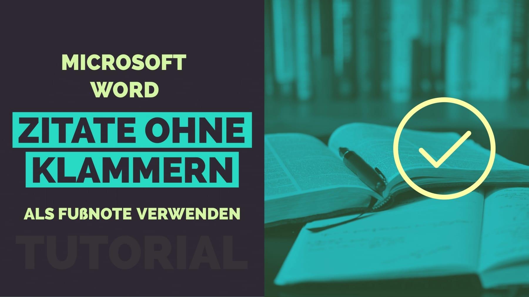 Microsoft Word Zitat ohne Klammer als Fussnote Titelbild