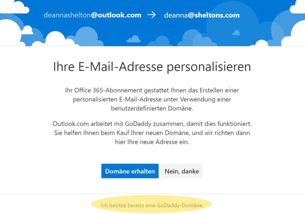 Outlook Domain GoDaddy 2