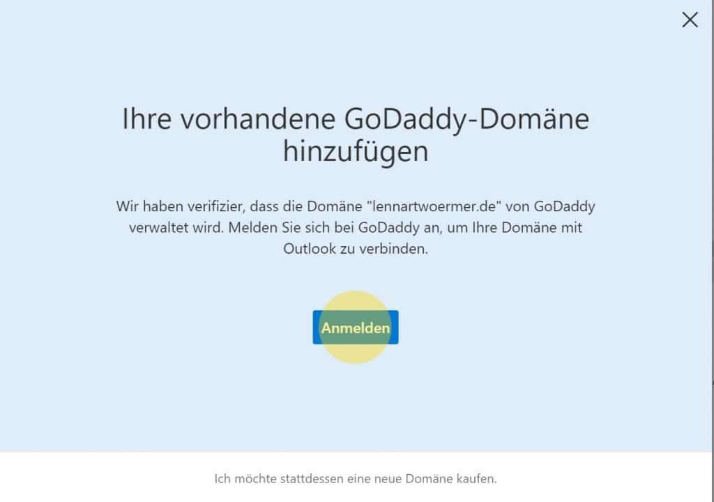 Outlook Domain GoDaddy 4