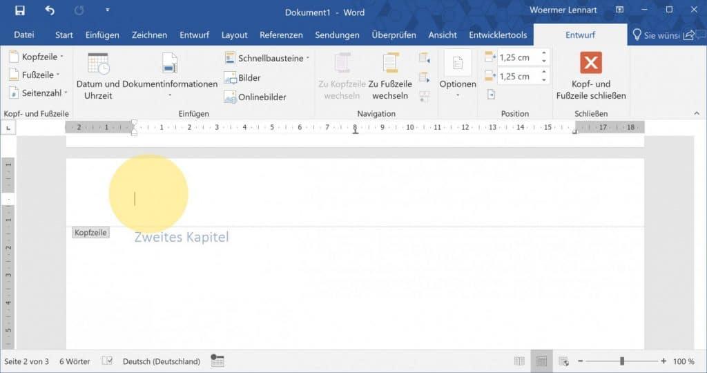 Microsoft Word Aktuelle Ueberschrift auf jeder Seite 1