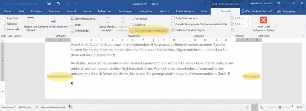 Word Seitenzahl ab Seite X 3