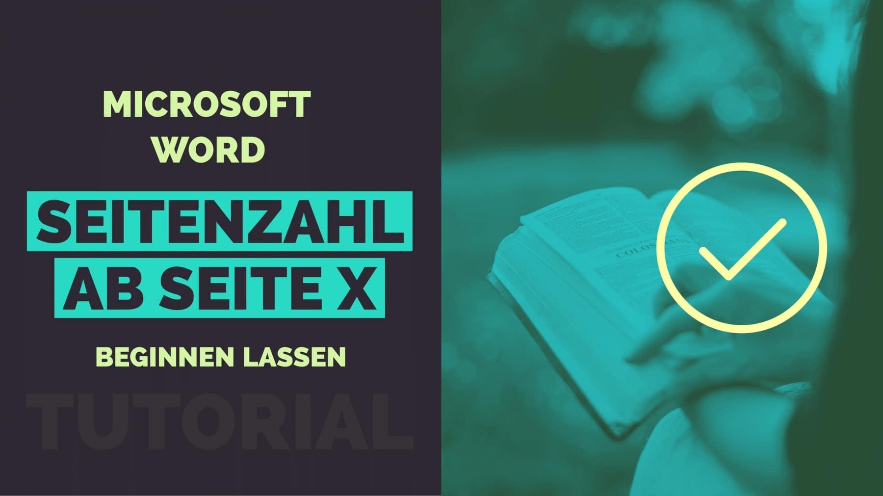 Word Seitenzahl ab Seite X Titelbild
