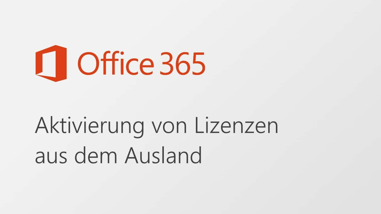 Office 365 Personal Home Aktivierung Lizenz Ausland