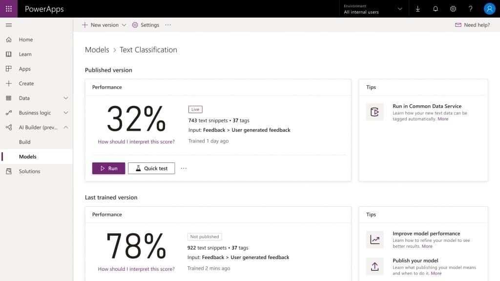 Microsoft Power Platform AI Builder Text Classification