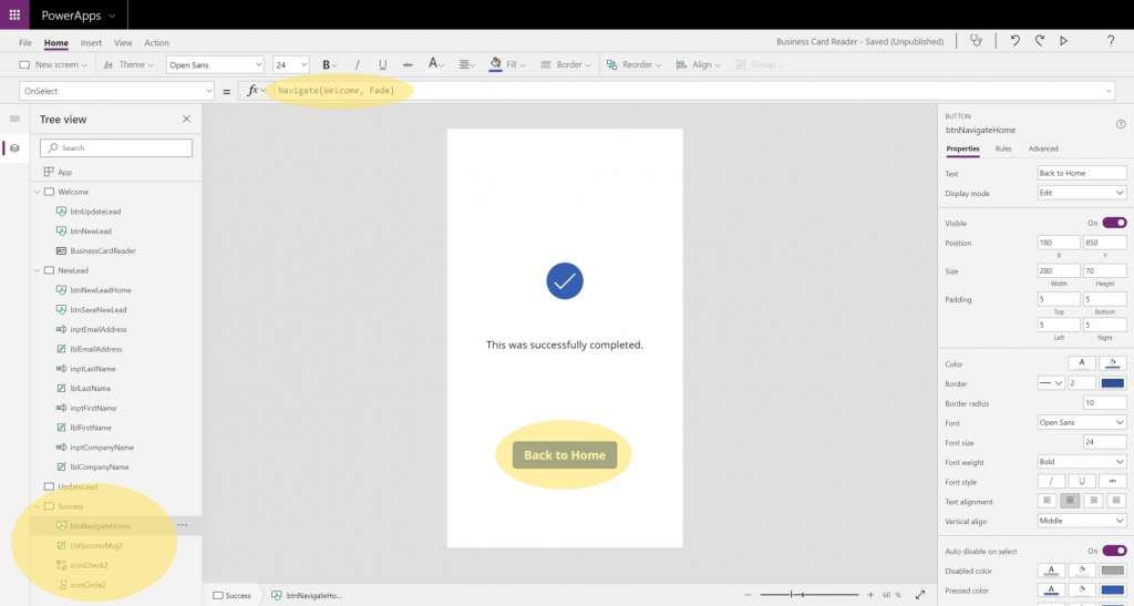 Dynamics 365 Generating Leads Business Card Reader PowerApps 10 Success Screen