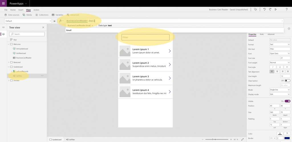 Dynamics 365 Generating Leads Business Card Reader PowerApps 13 Binding Email Address Filter