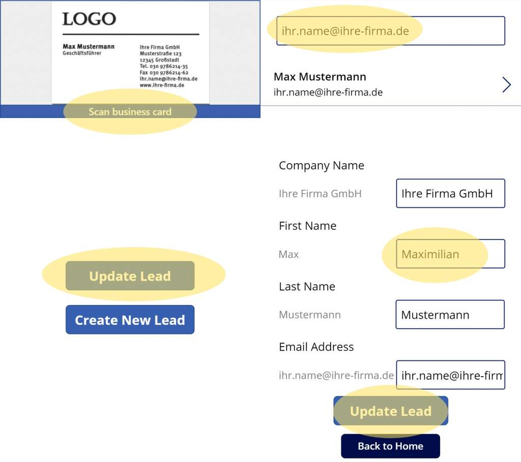 Dynamics 365 Generating Leads Business Card Reader PowerApps 21 PowerApps Update Existing Lead Record