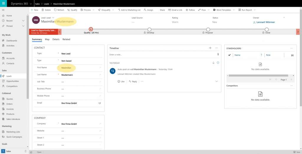 Dynamics 365 Generating Leads Business Card Reader PowerApps 22 Dynamics Update Existing Lead Record