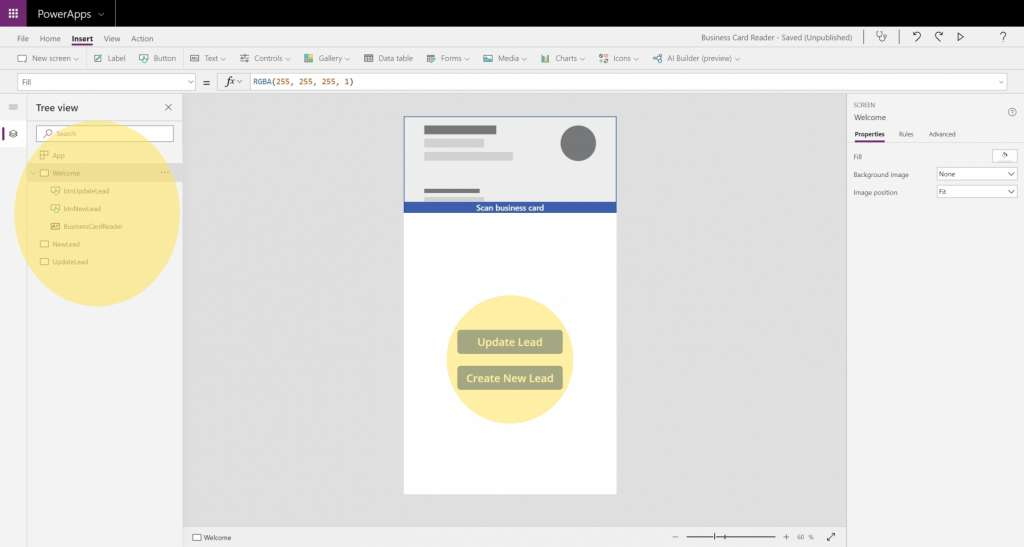 Dynamics 365 Generating Leads Business Card Reader PowerApps 3 Create Welcome Screen