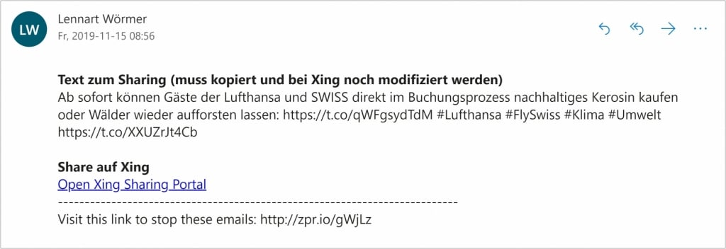 Half Automated Sharing Xing Email