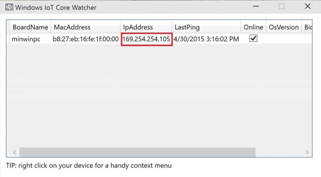 MagicMirror IP Adresse WindowsIoTCoreWatcher