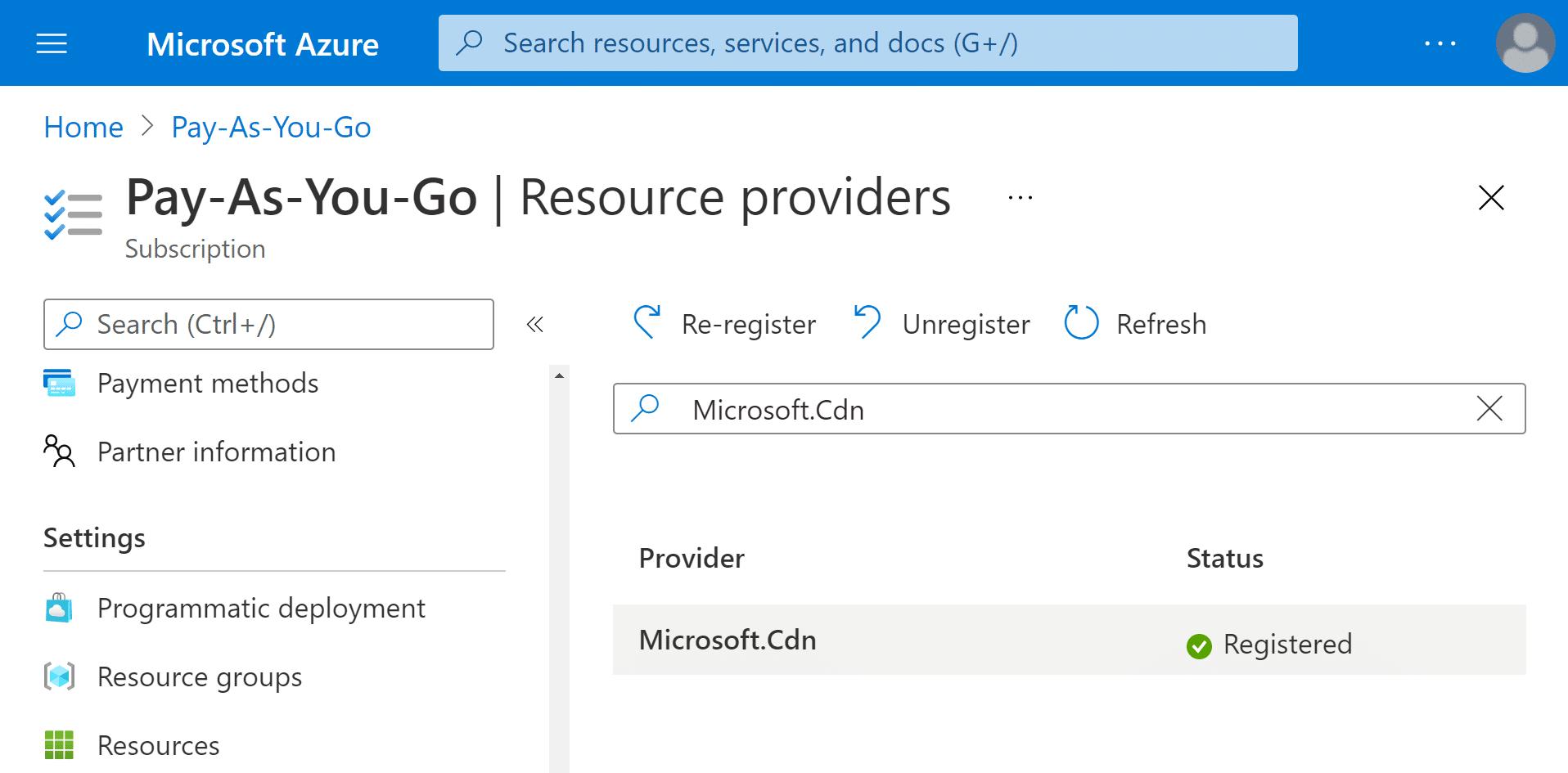 Azure CDN WordPress Configuration Azure Register CDN Ressource Provider
