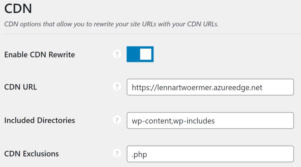 Azure CDN WordPress Configuration Perfmatters